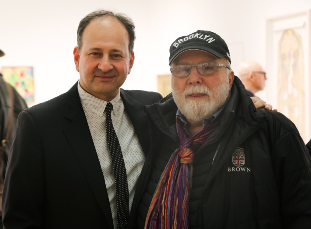 "Show owner Andrew Edlin, left, and Sandy Smith, the fair's original founder. Smith said, ""Andrew has done a wonderful job expanding the Outsider Art Fair while keeping it true to it's original intent and purpose."""