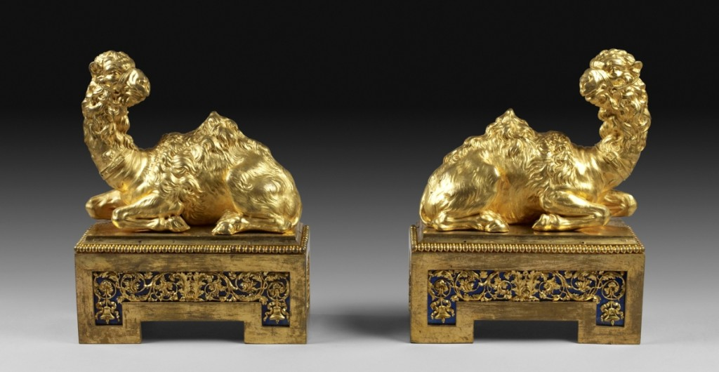 Commissioned for Marie Antoinette, these exotic dromedary fire dogs would have been the finishing touch for a chimneypiece in her Cabinet Turc at Fontainebleau. Later, they graced the library of Empress Josephine. Pair of fire dogs by Pierre Gouthière, 1777. Gilt bronze and blued steel, 12¾ by 8 by 4 inches. Musée du Louvre