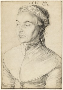 "Albrecht Dürer (German, 1471–1528), ""Portrait of a Young Woman with Braided Hair,"" 1515, black chalk and charcoal. Nationalmuseum, Stockholm."