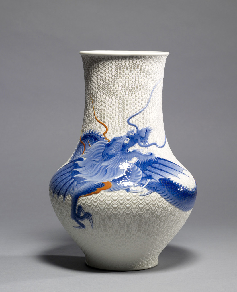 Henry Walters purchased this vase at the 1915 Panama-Pacific International Exposition in San Francisco. Vase with dragon by Kato Tomotaro (Japanese, 1851–1916), circa 1915. Porcelain with underglaze blue and overglaze enamels, 13-9/16 inches. Collection of the Walters Art Museum, Baltimore.        —Susan Tobin photo