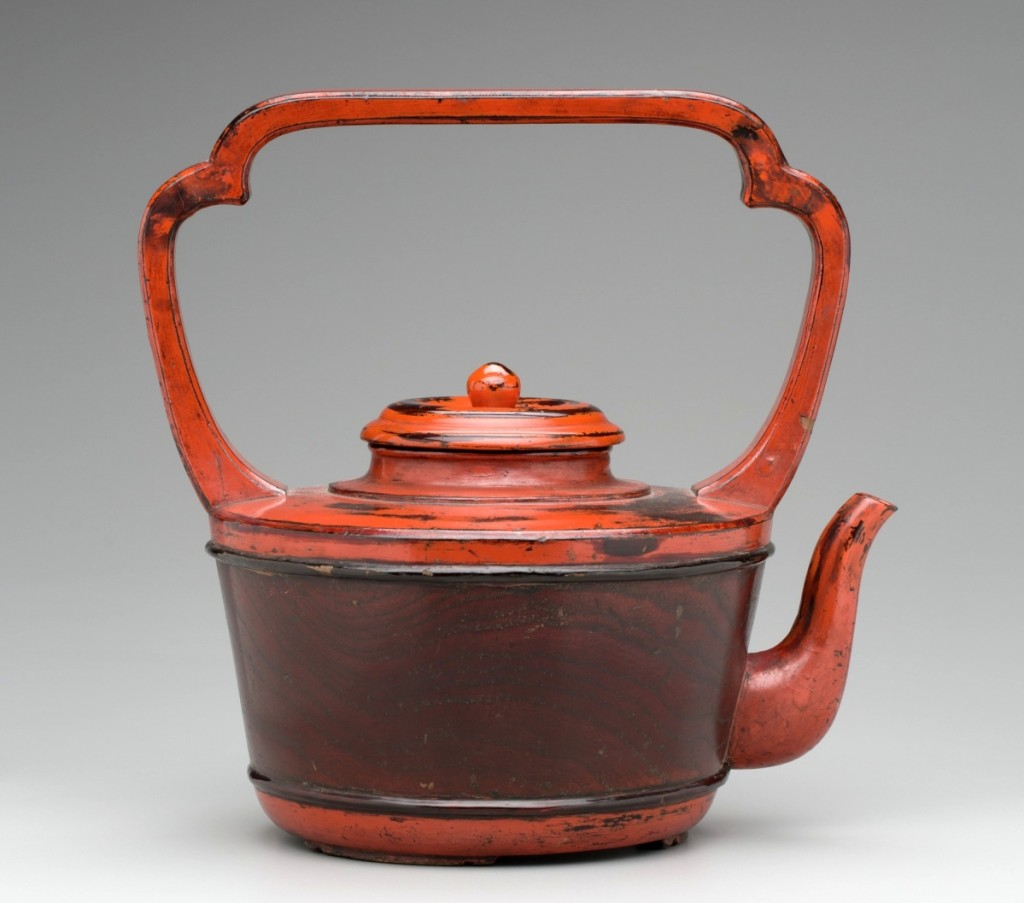 Vessel for hot water, Japanese, between late Fifteenth–early Sixteenth Century, negoro-style lacquered wood. Detroit Institute of Arts