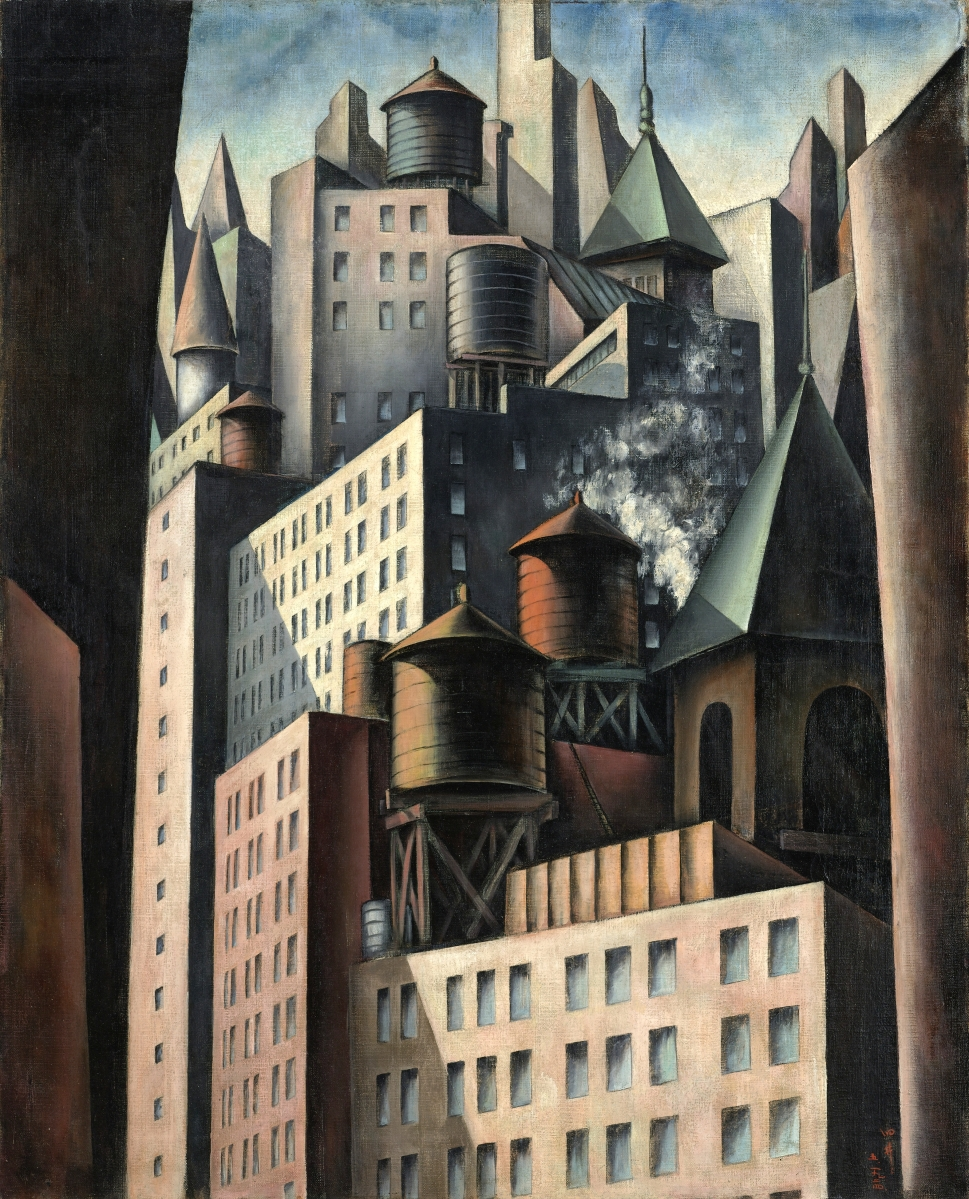 "Five years after his arrival in the United States, Bumpei Usui exhibited this cityscape at Philadelphia's 1926 Sesquicentennial International Exposition. ""14th Street"" by Bumpei Usui (American, b Japan, 1898–1994), 1924. Oil on canvas, 30-  by 24 inches. Collection of the Virginia Museum of Fine Arts, J. Harwood and Louise B. Cochrane Fund for American Art. —©Virginia Museum of Fine Arts, Katherine Wetzel photo"