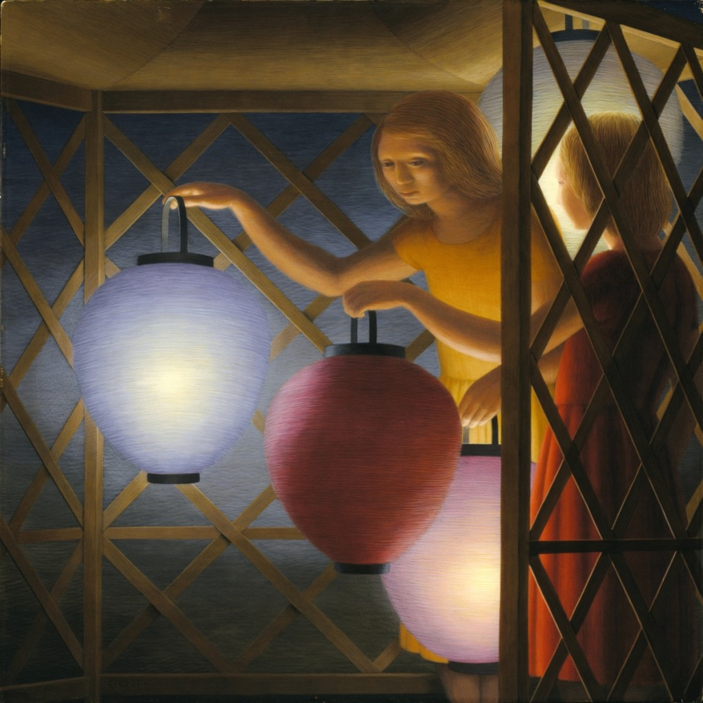 """In the Summerhouse"" by George Tooker (American, 1920–2011), 1958. Egg tempera on fiberboard, 24 by 24 inches. Collection of the Smithsonian American Art Museum, gift of the Sara Roby Foundation. ©Estate of George Tooker. Courtesy of DC Moore Gallery, New York City."