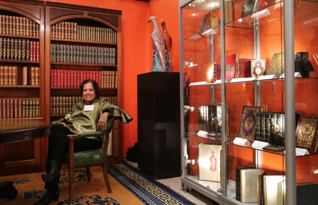 Bibi Mohamed sits in her library at Imperial Fine Books, New York City