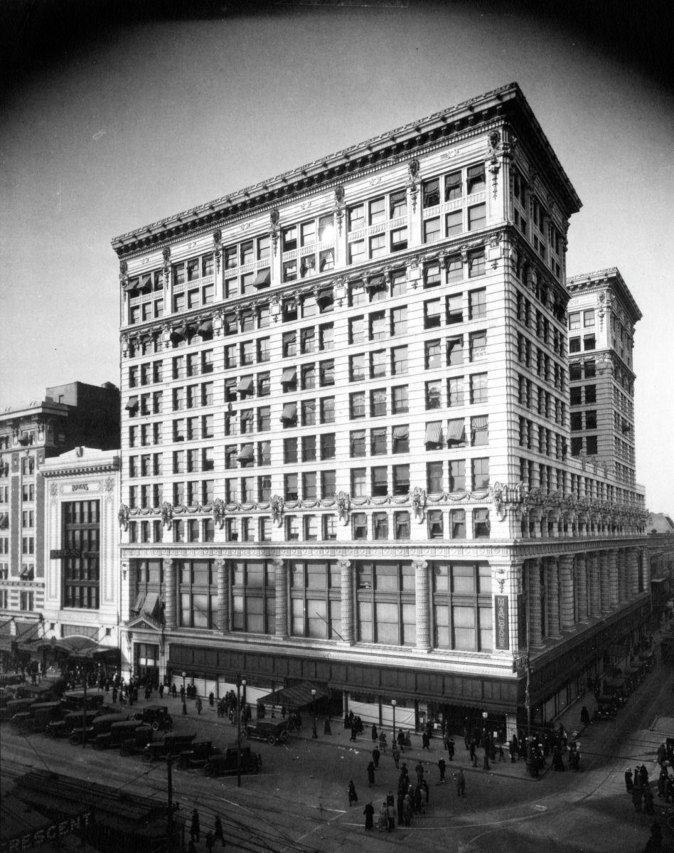 The Maison Blanche department store building on Canal Street, shown here in a 1924 photo, still exists as part of the Ritz-Carlton Hotel in the Central Business District.