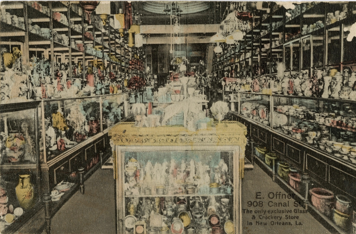 If ever a china shop dreaded the proverbial bull, it would have been E. Offner's Glass & Crockery Store on Canal Street, shown here on a postcard issued circa 1910. Orderly showcase design fell by the wayside as the company strove to display its comprehensive selection.