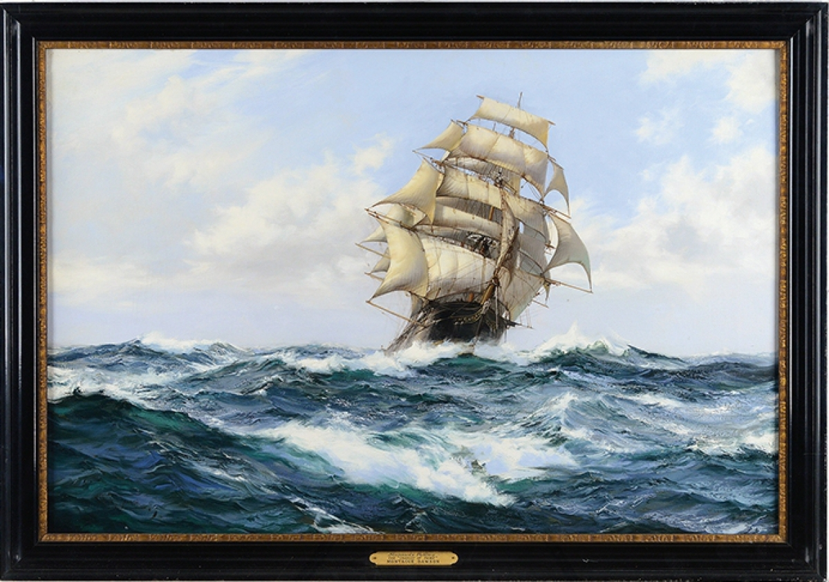 "Montague Dawson's ""The Chariot of Fame, Stunsails Pulling,"" was signed and had been owned by American Airlines and hung in the Admiral's Club in the Los Angeles airport. It attained $78,650."