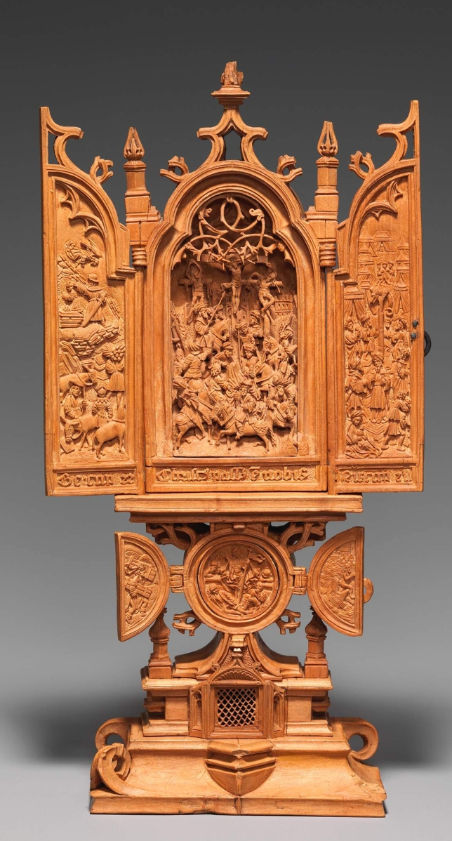 Miniature altarpiece with the Crucifixion, Netherlandish, early Sixteenth Century, boxwood, open: 5-  by 3 by 1¼ inches. The Metropolitan Museum of Art, New York, gift of J. Pierpont Morgan, 1917. ©The Metropolitan Museum of Art. —Peter Zeray photo