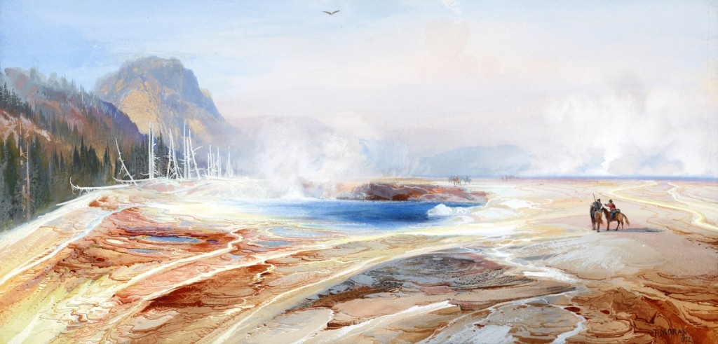 """Big Springs in Yellowstone Park"" by Thomas Moran (1837–1926), 1872. Watercolor and opaque watercolor on paper. Private Collection."