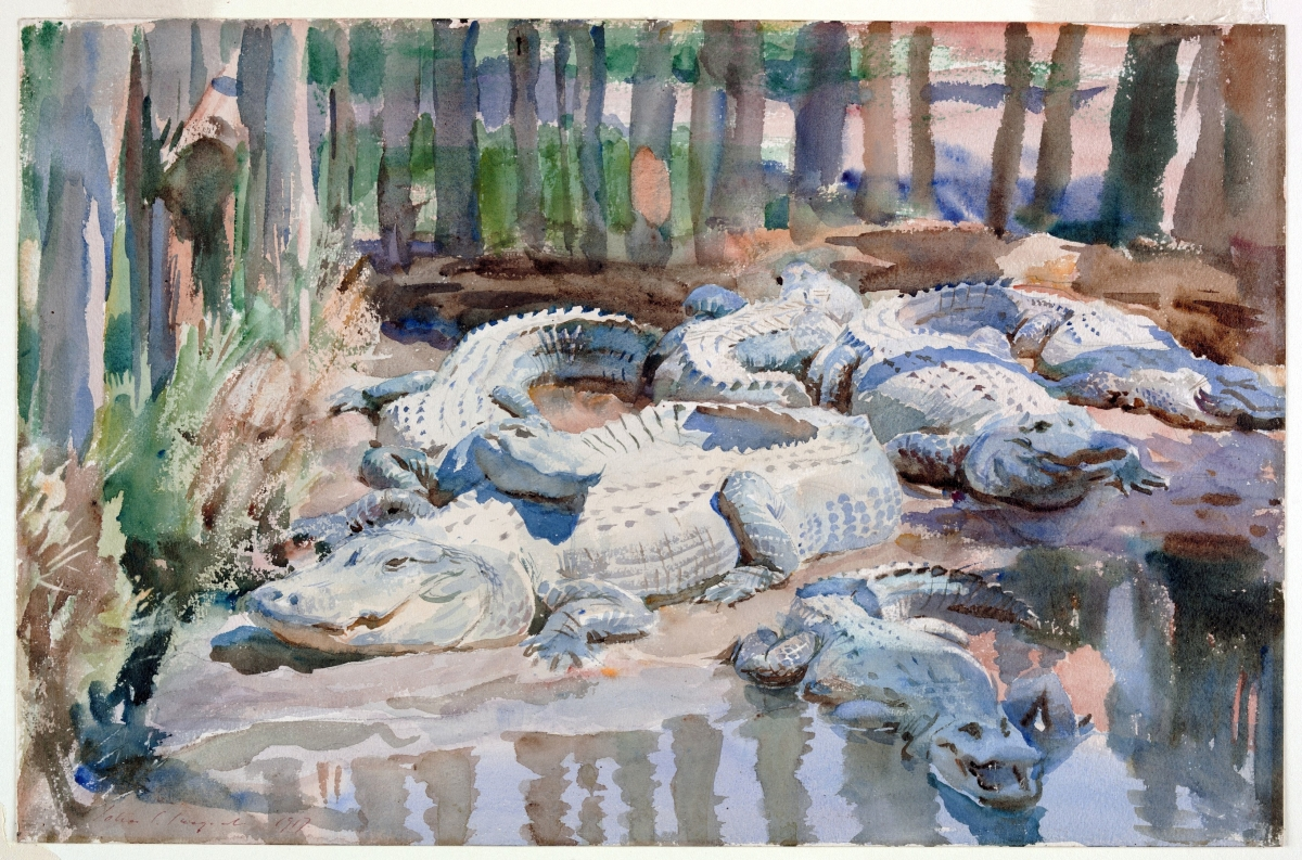 """Muddy Alligators"" by John Singer Sargent (1856–1925), 1917. Watercolor over graphite, with masking out and scraping, on wove paper. Worcester Art Museum."