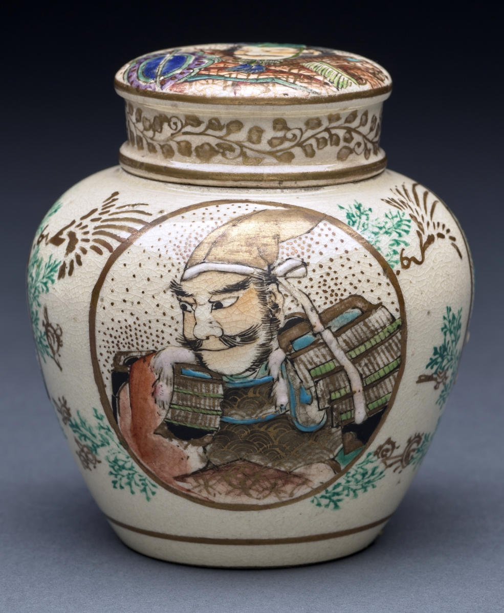 Covered jar, Nineteenth Century, ceramic, gift of Mrs Harriet S. Muscroft and C.S. Muscroft, Jr.