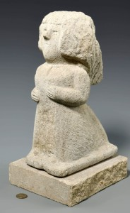 There has been strong demand at the national level lately for carved limestone sculptures by self-taught African American artist William Edmondson (Tennessee, 1874–1951). His 14-inch sculpture of a nurse earned $129,800.