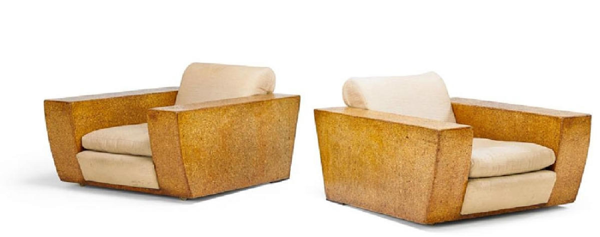 Considerable interest saw these dynamite Paul Frankl cork lounge chairs hit $53,125 on an $8,000 high estimate.