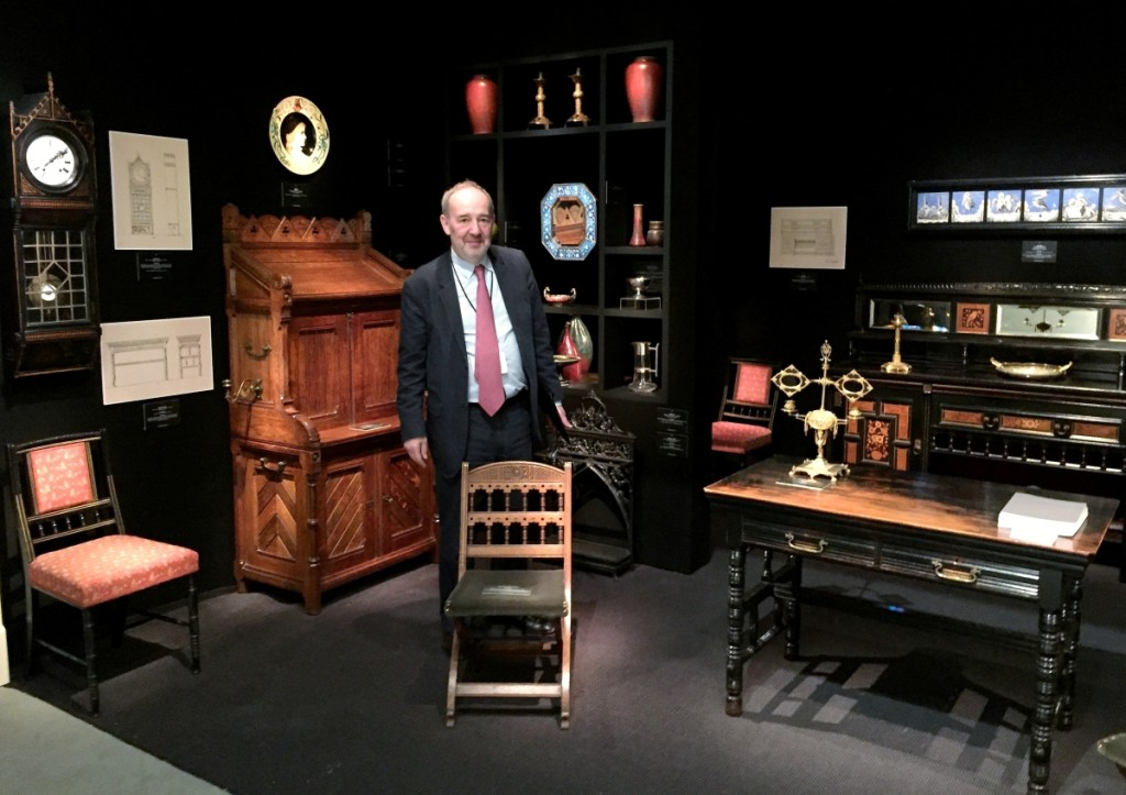 London dealer Martin Levy of H. Blairman & Sons, Ltd, mounted a thematic display of furniture by the architecturally trained designer Bruce Talbert.