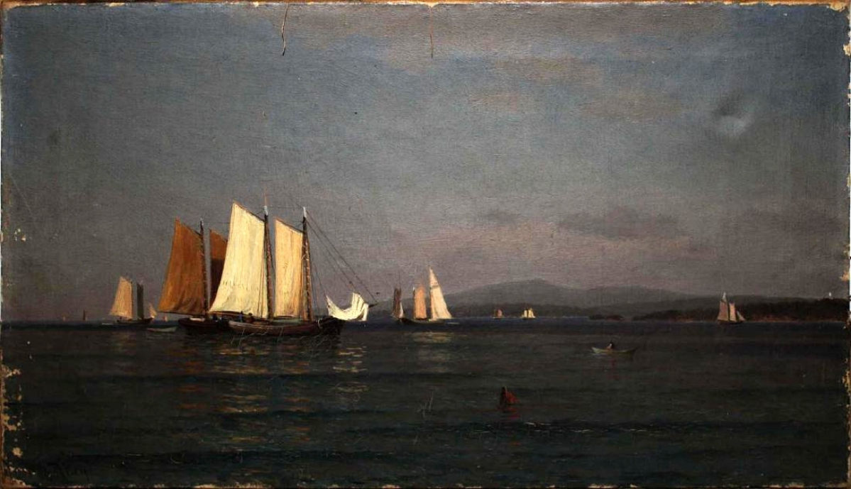 The top priced lot of the sale was a painting by John Ross Key. It had been cataloged as a lake scene with the Green Mountains in the background, but a few days before the sale, Merrill determined that an inscription on the stretcher identified it as a Mount Desert, Maine, subject. That probably helped push the price to $46,000, well over the $2,000 estimate.