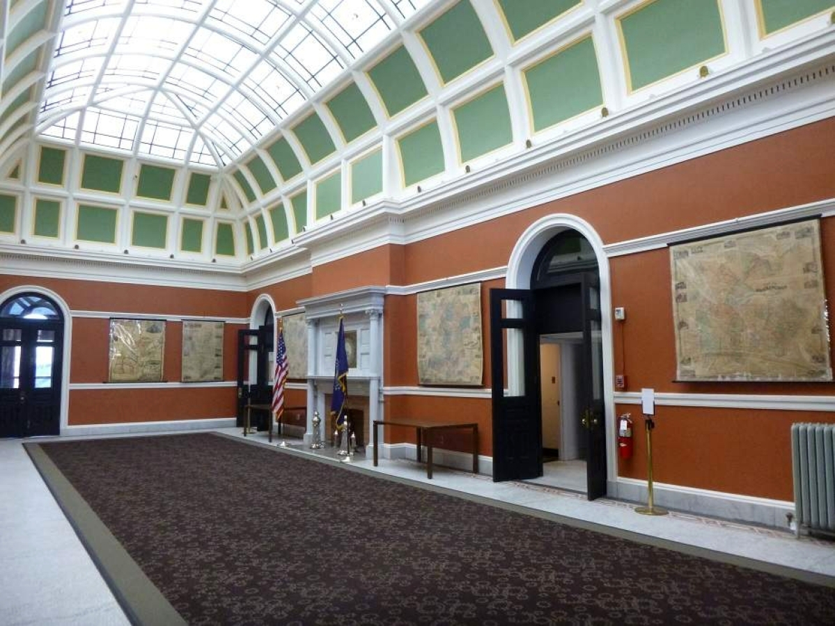 The library has a large collection of New Hampshire state, county and town maps, several of which are on permanent display in the map gallery in the 1895 building.