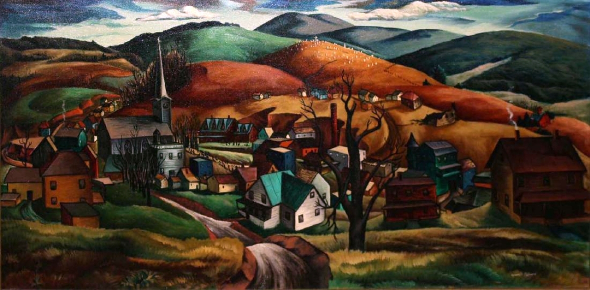 As he finished selling this painting of Heath Hill, from Barton, Vermont, by Francis Colburn, Duane Merrill said the price, $16,100, was a new record for the artist. Colburn was connected with the University of Vermont and this was one of several paintings by Vermont artists that did well.