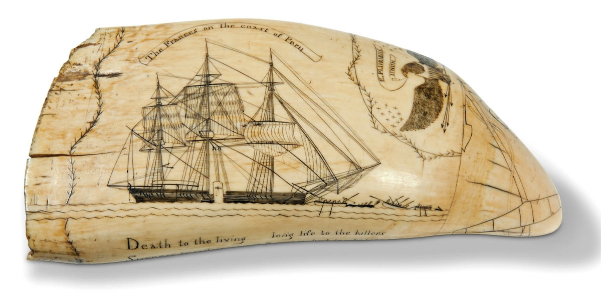 The expected star of the sale was this scrimshaw whale's tooth by Frederick Myrick, considered by many to be the master of the art. It is believed that he created only about 36 pieces, and this is one of only two depicting the whaleship Frances. They were all done while Myrick was serving aboard the Nantucket whaler Susan on a Pacific voyage from 1826 to 1829. The tooth brought $110,700. Skinner sold the other Frances tooth in 2014 for $123,000.