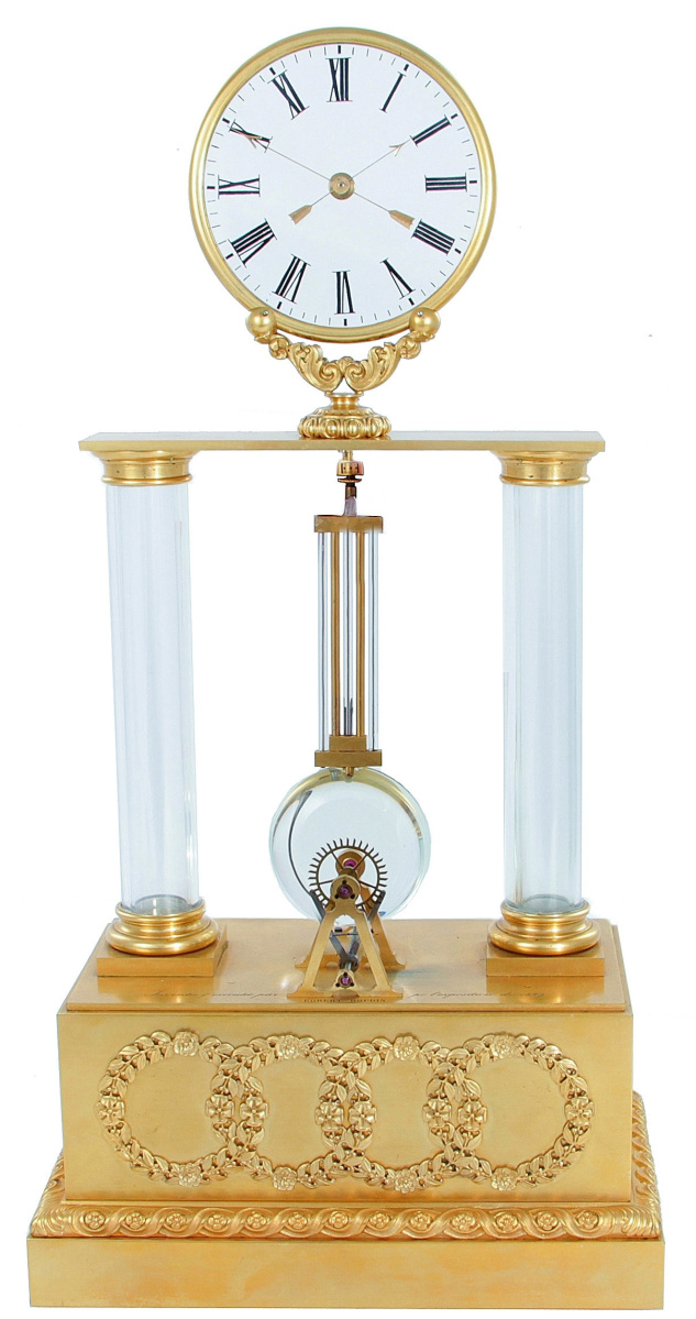 Displayed at the Paris Exposition in 1839, this Louis Philippe ormolu and glass striking mystery clock inscribed with the name of its maker, Jean Eugene Robert-Houdin, fetched $102,000 ($7/10,000). It is in working order. Estate of Arturo Peralta Ramos II.