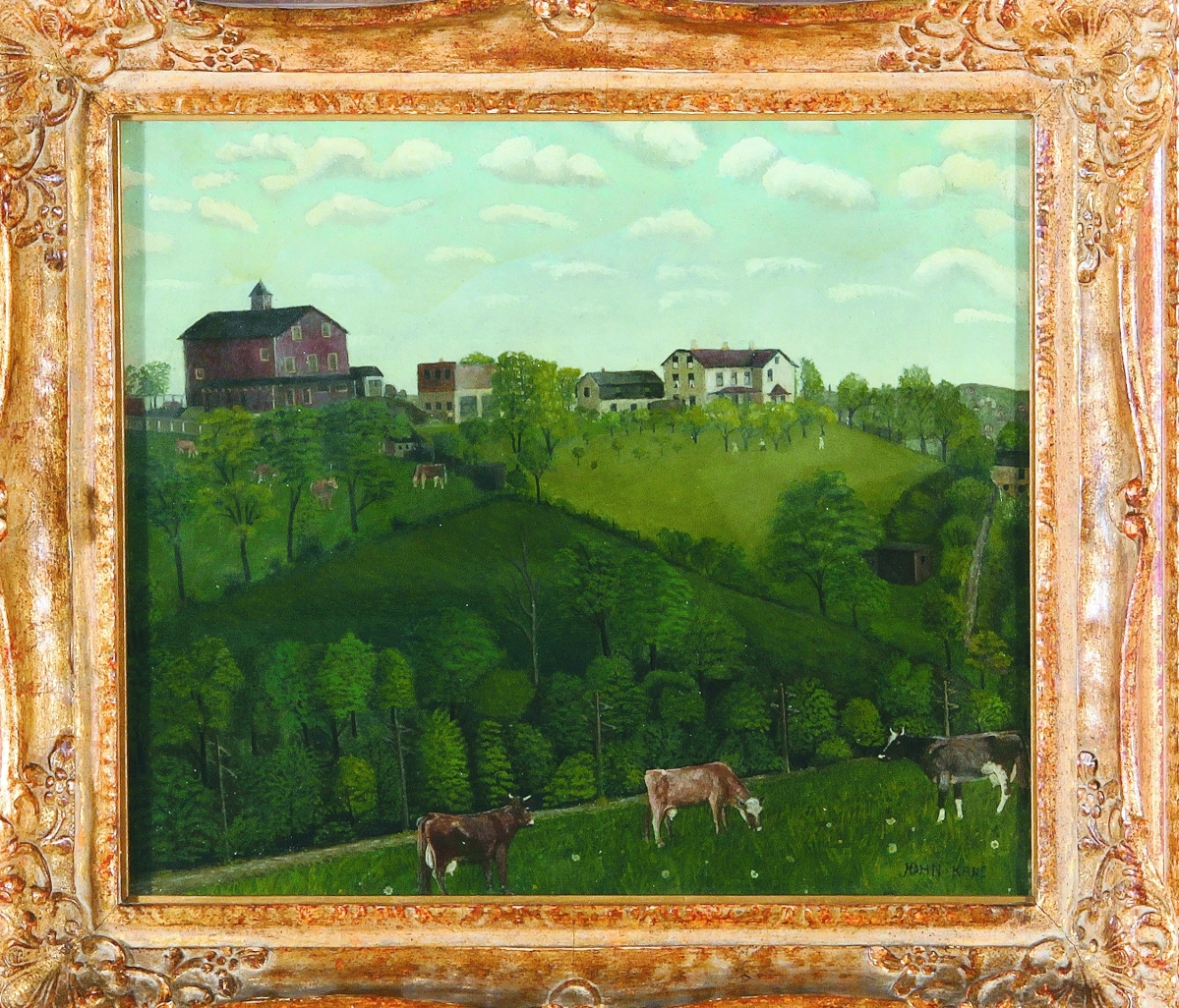 """Squirrel Hill Farm,"" a double-sided oil on board by Pennsylvania folk artist John Kane (1860–1934), set an auction record at $120,000 ($6/9,000), selling to a private buyer. Affixed to its back is a label from Pittsburgh's Carnegie Institute, the first institution to exhibit the 67-year-old artist's work in 1927. Estate of Arturo Peralta Ramos II."