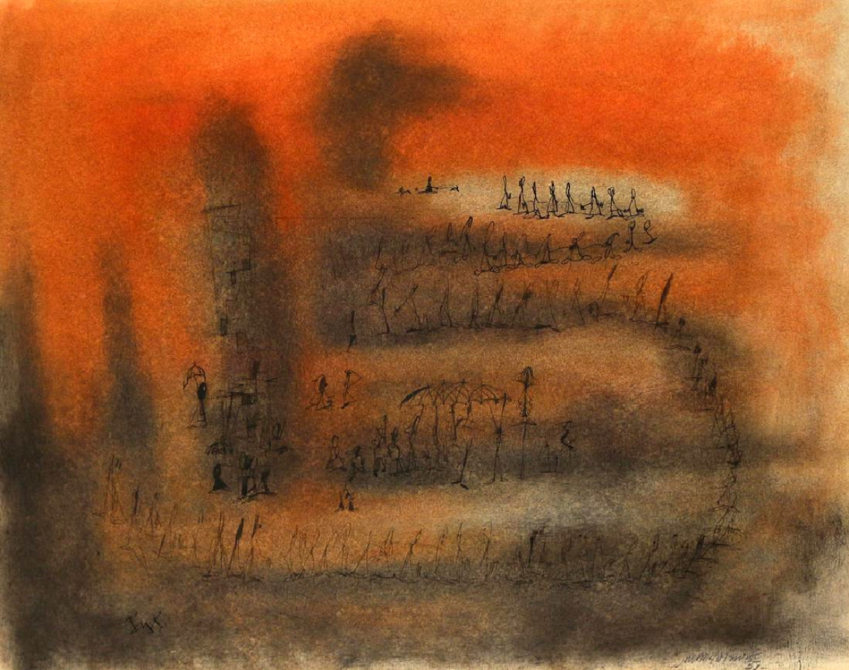 "The highest priced work in this sale for any artist in the Spiral group, a Norman Wilfred Lewis mixed media on paper, titled ""Figures on an orange ground,"" sold above high estimate for $21,600."