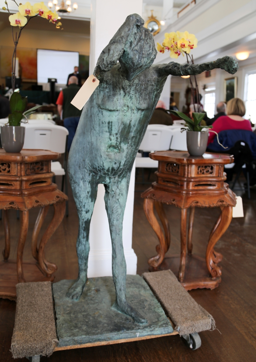 "Kenneth Armitage's ""Standing figure"" was the top lot of the auction, reaching $60,000. The bronze was created in 1956 and stands 45¼ inches high."