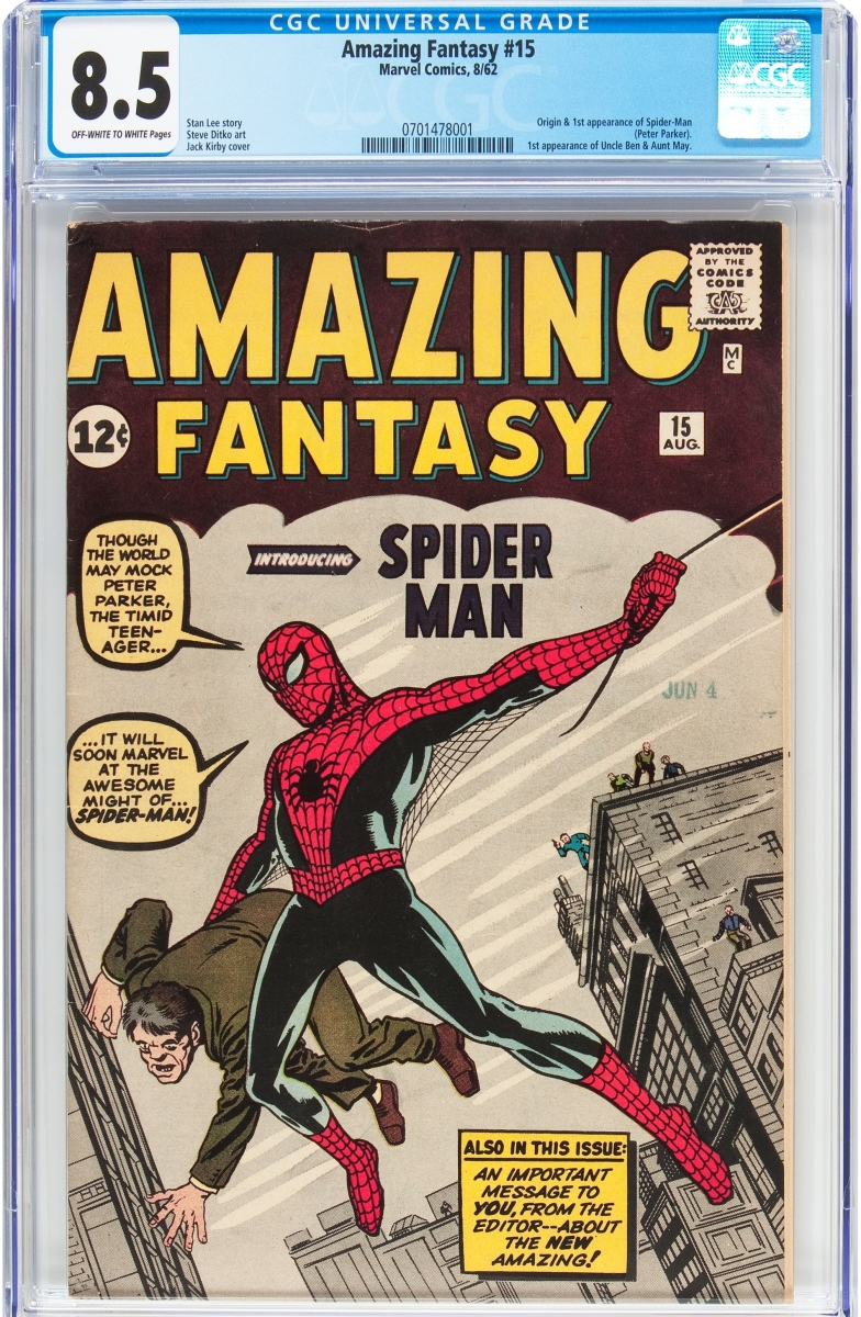 One of three lots to reach $155,350 was this high-grade copy of Amazing Fantasy #15 (Marvel, 1962), which sold during the first day.