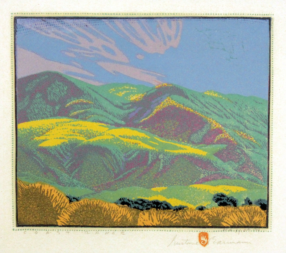 """Coast Range,"" 1928. Color woodcut, no. 11 of 120; 9½ by 11-  inches."