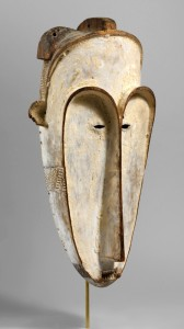 Ngi mask, 1850, Gabon, Fang peoples, wood, kaolin and fiber, 24½ by 11-  by 8 inches, private collection. —Joe Coscia photo, The Photograph Studio, The Metropolitan Museum of Art