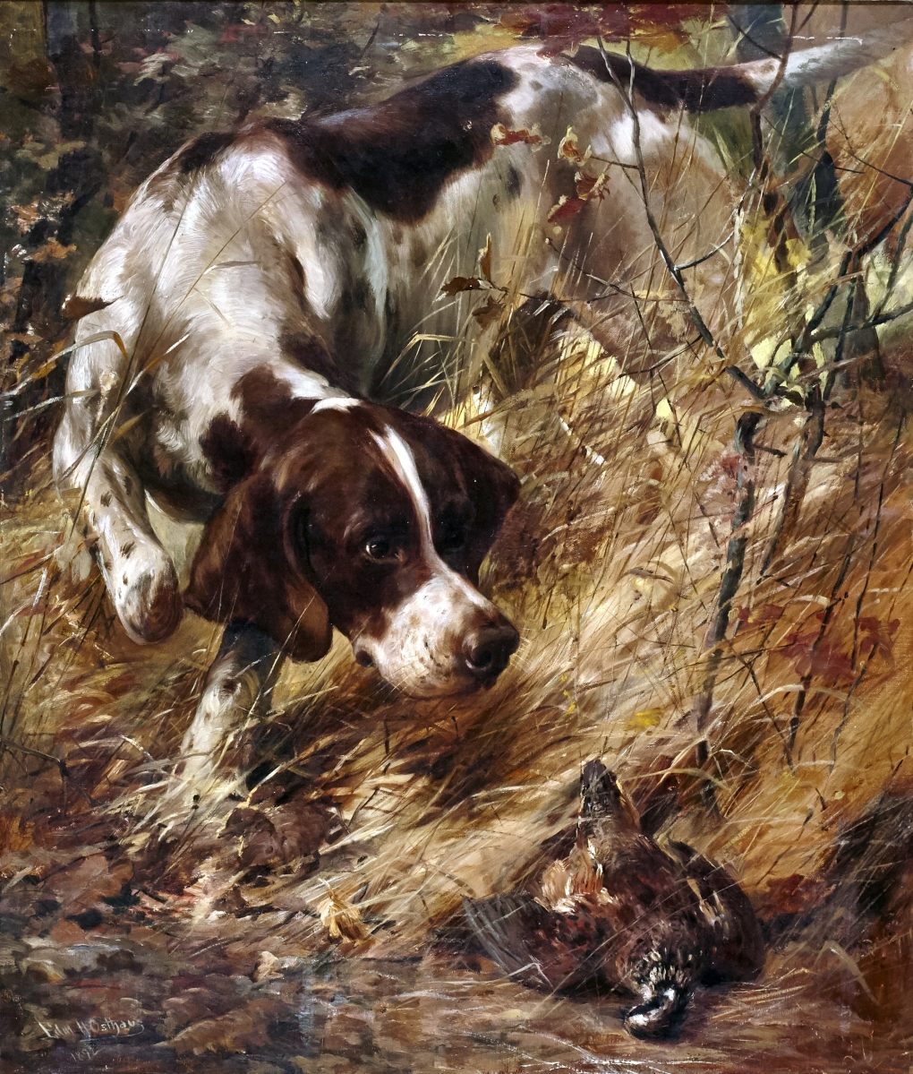 "Edmund H. Osthaus (1858-1928), ""Pointer and Quail,"" 1892, oil on canvas, was the top fine art lot at $63,000."