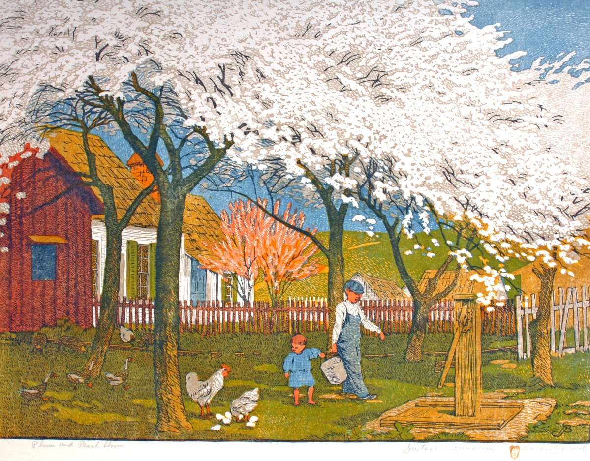 "A copy of this print was one of eight Baumann entered in the 1915 San Francisco World's Fair. The Indiana farm scene was part of his large-format ""Schoolhouse"" series, which he hoped would be installed on Indiana classroom walls as inspiration to students. ""Plum and Peach Bloom,"" 1912. Color woodcut, 19¾ by 26-  inches. From the collection of the Two Red Roses."