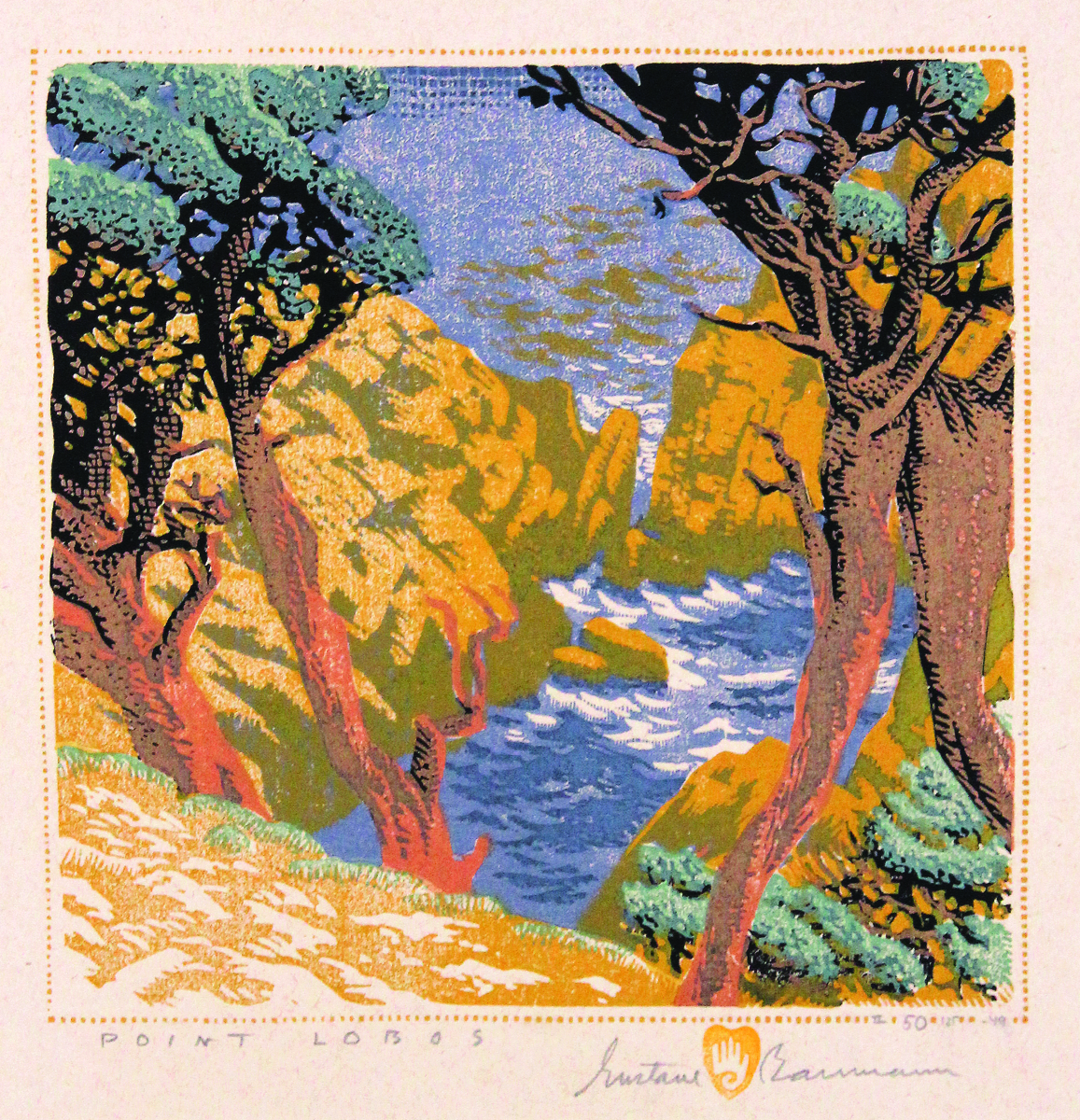 "Baumann's chop, featuring a hand within a heart, recalls his saying, ""What you put your hand to, you put your heart behind."" ""Point Lobos,"" 1936; printed in 1949. Color woodcut, II 50/125 '49; 8-  by 8-  inches."