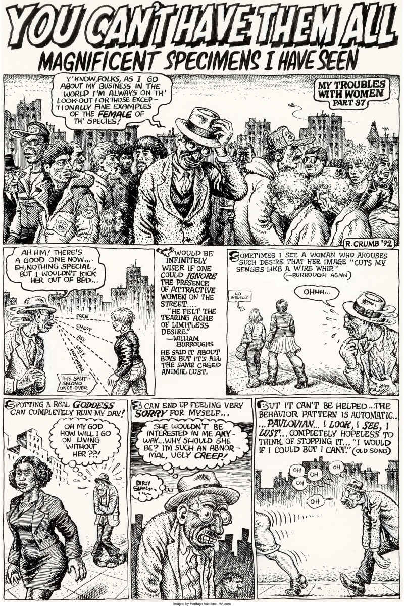Hup #4 (Last Gasp, 1992), is the complete four-page story original art by Underground Comix master Robert Crumb, which was among the top lots at $155,350.