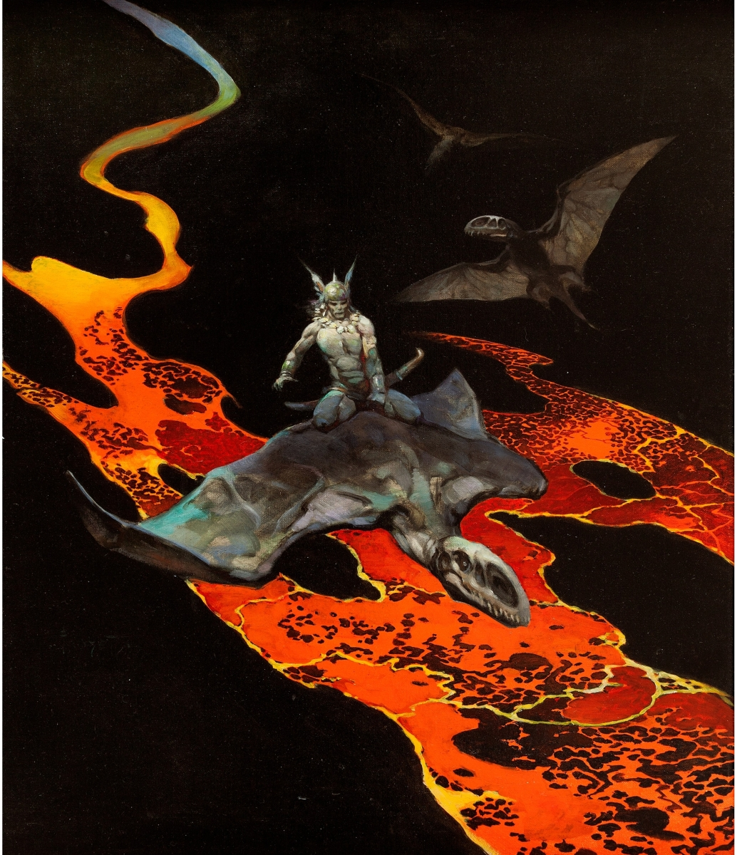 "Frank Frazetta's oil painting, ""Thor's Flight,"" published on the cover of the paperback edition of Thongor in the City of Magicians by Lin Carter, sold for $155,350."