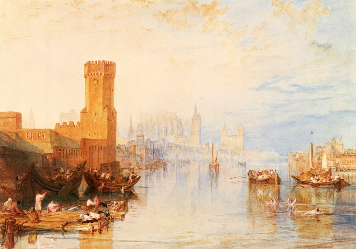 """Cologne from the River,"" 1820, watercolor on paper, 12-  by 18¼ inches. Seattle Art Museum, gift of Mr and Mrs Louis Brechemin. —Paul Macapia photo"