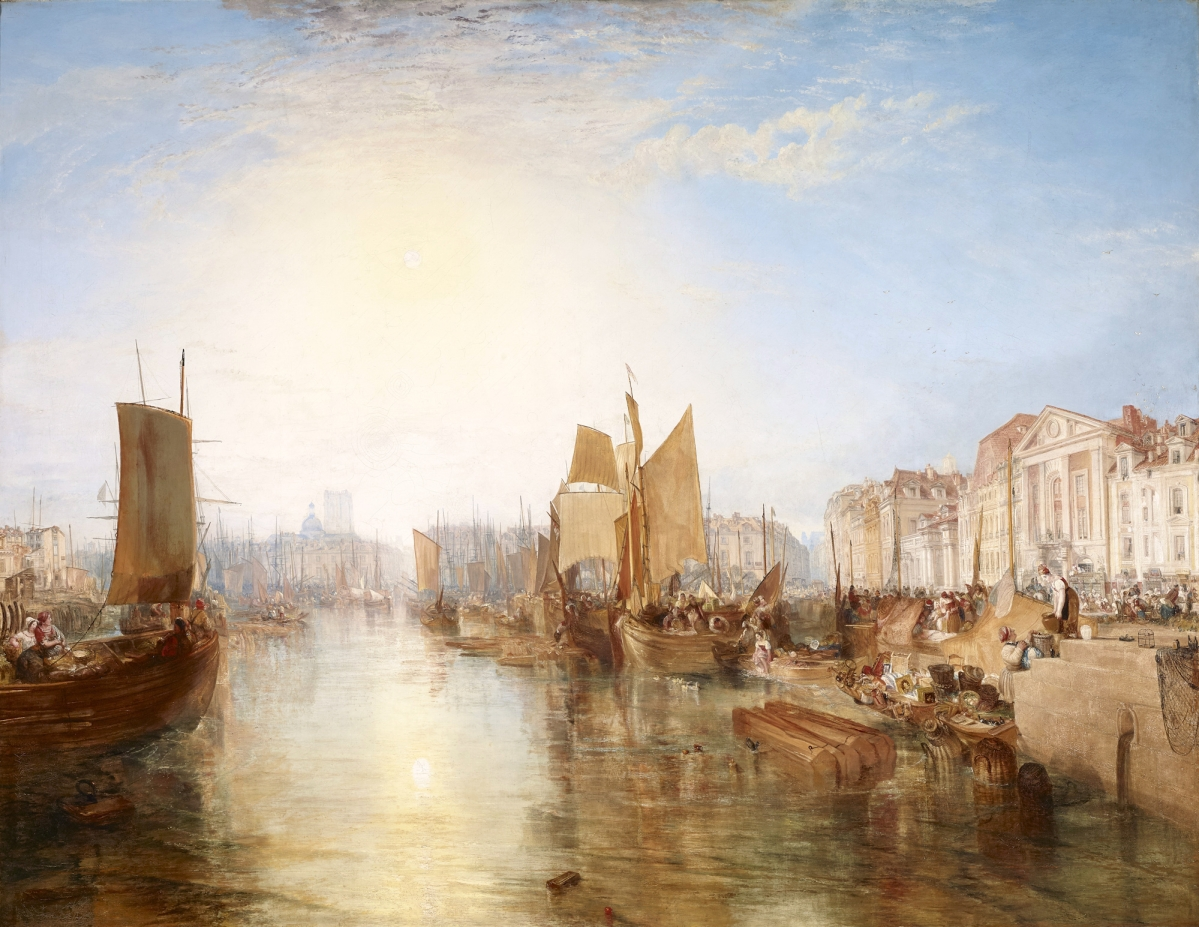 """Harbor of Dieppe: Changement de Domicile,"" exhibited 1825, but subsequently dated 1826, oil on canvas, 68-  by 88¾ inches. The Frick Collection, New York.  —Michael Bodycomb photo"