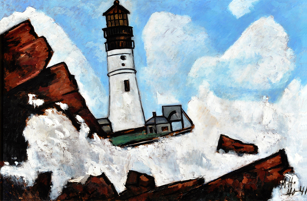 """The Lighthouse,"" 1940–41. Oil on Masonite-type hardboard. Collection of Pitt and Barbara Hyde."