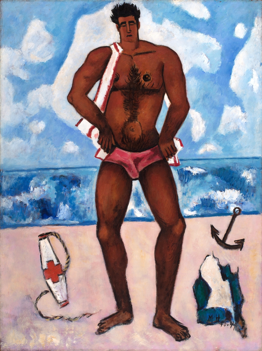 """Canuck Yankee Lumberjack at Old Orchard Beach, Maine,"" 1940–41. Oil on Masonite-type hardboard. Hirshhorn Museum and Sculpture Garden, Smithsonian Institution"
