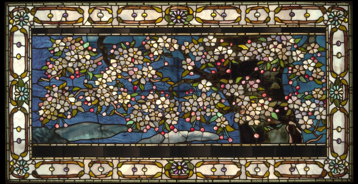 "A Leaded Glass Window""Cherry Blossoms Against Spring Freshet"" by John La Farge, 1882–83. Opalescent, antique and confetti glass and pressed-glass jewels in lead cames with plating. Purchased with gifts from Friends of American Arts at Yale and others.The Art Gallery had no examples of American stained glass until it purchased this window by John La Farge. The fashion for stained-glass windows in domestic architecture came into its own in the United States in the 1870s. John La Farge and his rival Louis Comfort Tiffany were the leading artists in this medium. La Farge is credited with having introduced the use of opalescent glass to windows. La Farge also experimented with other techniques of manipulating glass, such as plating multiple layers of glass to achieve tonal variation and shading without resorting to paint. All these techniques come into play in this window, a striking example of Japonisme in Nineteenth Century American art. It was removed from the Michael Jenkins House in Baltimore when the house was demolished in 1951 and then became part of the interior décor of Maxwell's Plum restaurant in New York before gracing the Yale galleries."