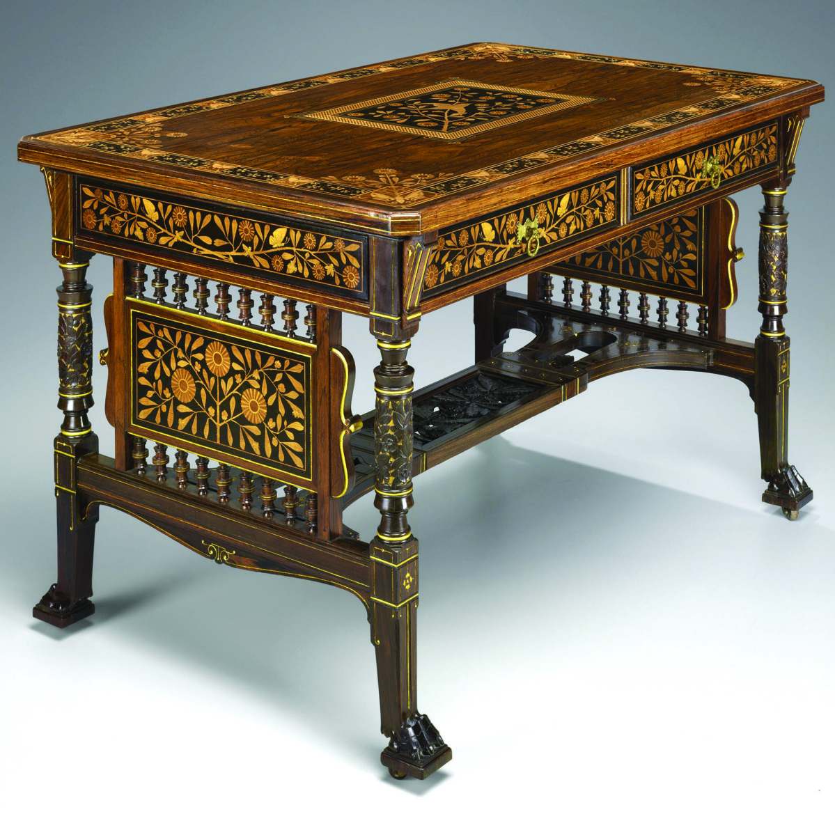A Japanesque Center TableCenter table by Herter Brothers, circa 1878. Rosewood, mahogany, rosewood veneer, lightwood and tropical wood inlay, gilt-bronze, steel and rubber. Leonard C. Hanna Jr, Class of 1913, Fund and others.When the opportunity to purchase this table came along, our endowment income was not very flush and acquiring it meant forgoing other opportunities for a few years, but we felt it was worth it. This center table is a superlative example of the Japanese-inspired furniture Herter Brothers introduced in the mid-1870s. This table's reliance upon design reform and Japanesque ideals clearly shows the direction of Christian Herter, coupled with the firm's tradition of meticulous craftsmanship and quality materials. The acquisition of the table ramped up the strength of the Aesthetic Movement display just in time for Yale's galleries to open in 2012.                       —Patricia E. Kane