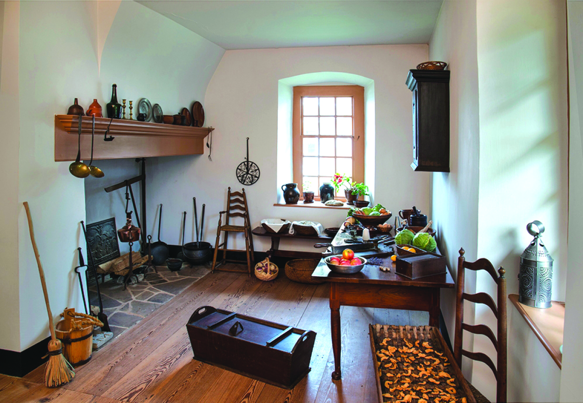 Figure 8. The kitchen hearth is where Mary Muhlenberg fell into a kettle of boiling beets in 1781.