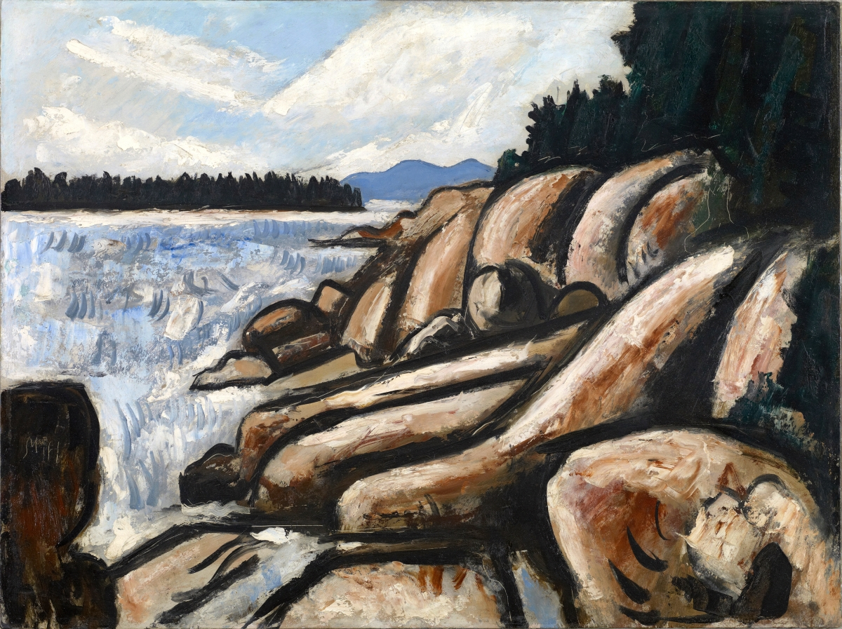 """City Point, Vinalhaven,"" 1937–38. Oil on commercially prepared paperboard (academy board). Colby College Museum of Art"