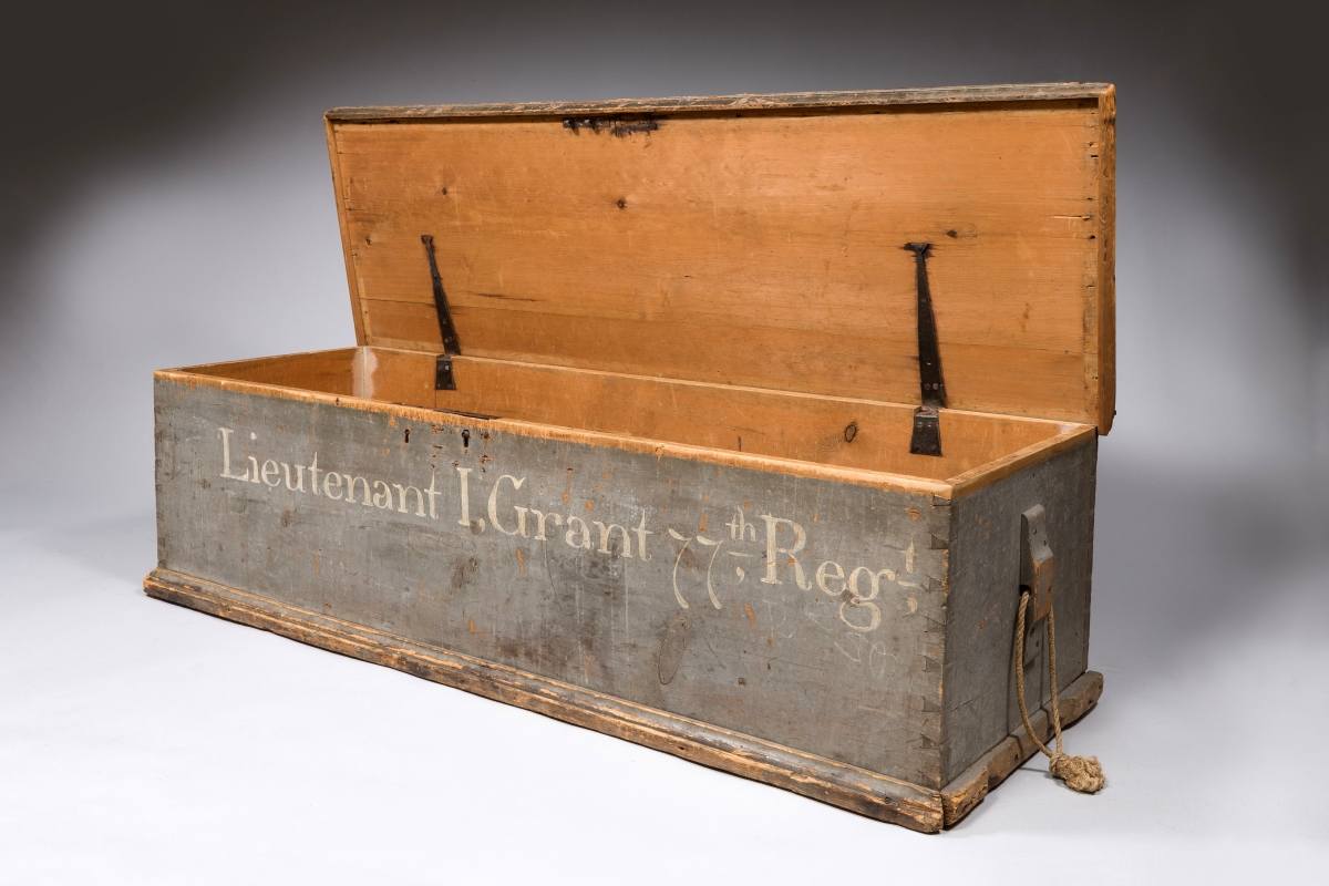 Lieutenant James Grant of the 77th Regiment, a Highland Scottish Regiment, owned this campaign chest. Great Britain or North America, 1757–63. Wood and iron.