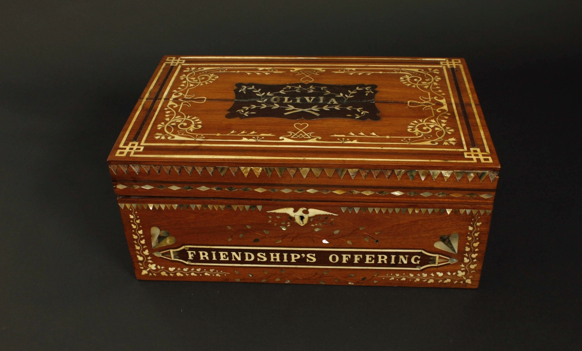 """Olivia"" workbox by Josiah Robinson, Jr, circa 1860–63."