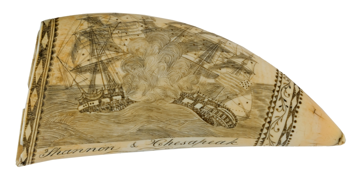 Scrimshaw whale's tooth attributed to the Lady Wellington engraver, first half of the Nineteenth Century, $72,000. It depicts the battle between the Shannon and the Chesapeake during the War of 1812. Mittler Collection.