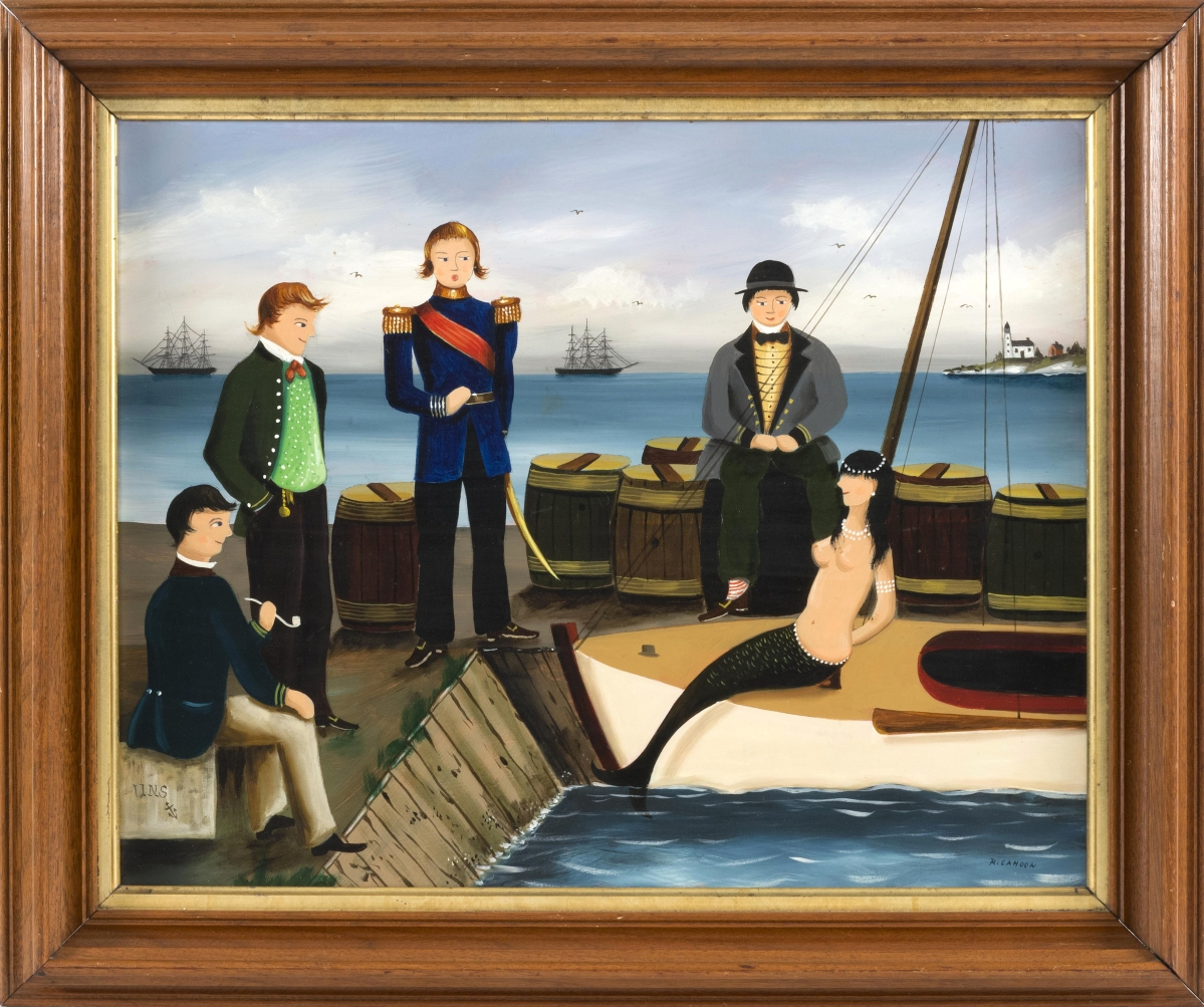 """Gentlemen Conversing With A Mermaid"" by Ralph E. Cahoon Jr (1910–1982), oil on Masonite, $23,750."