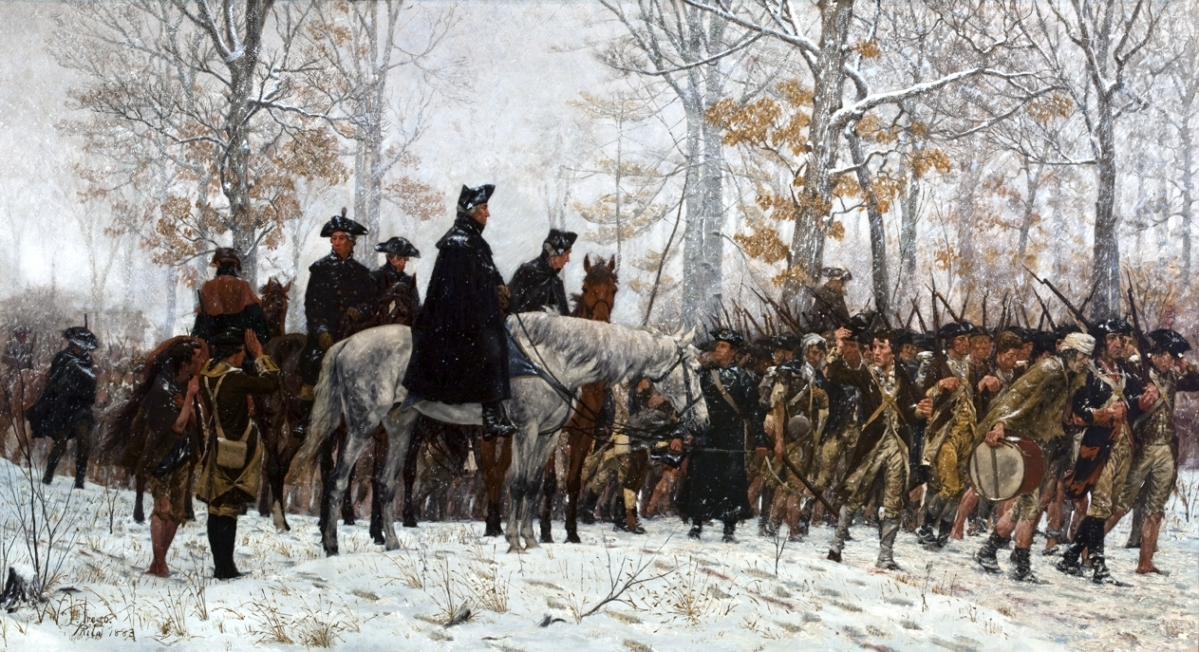 "This canvas commemorating one of the Patriot Army's most difficult times was exhibited at the Pennsylvania Academy of the Fine Arts in 1883. ""March to Valley Forge"" by William B.T. Trego, Philadelphia, 1883. Oil on canvas."