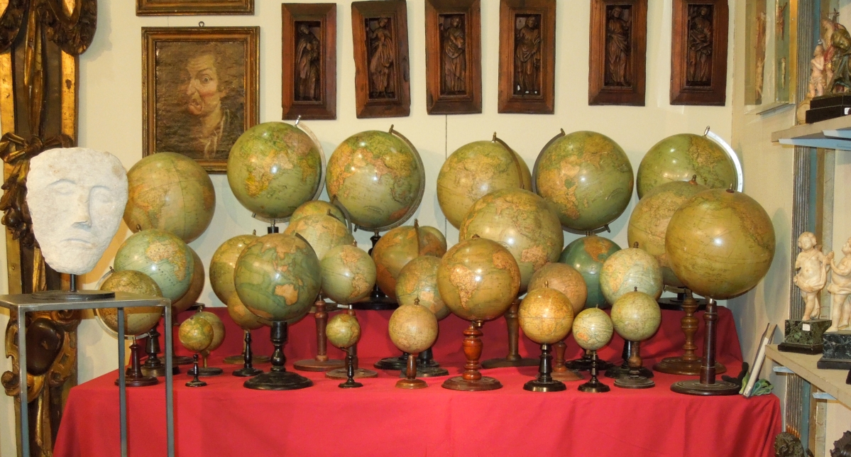 To travel the world one could simply purchase a world globe offered by La Congrega, Brescia, Italy. Eighteenth–Twentieth Century examples were all in near-mint condition at the fair.