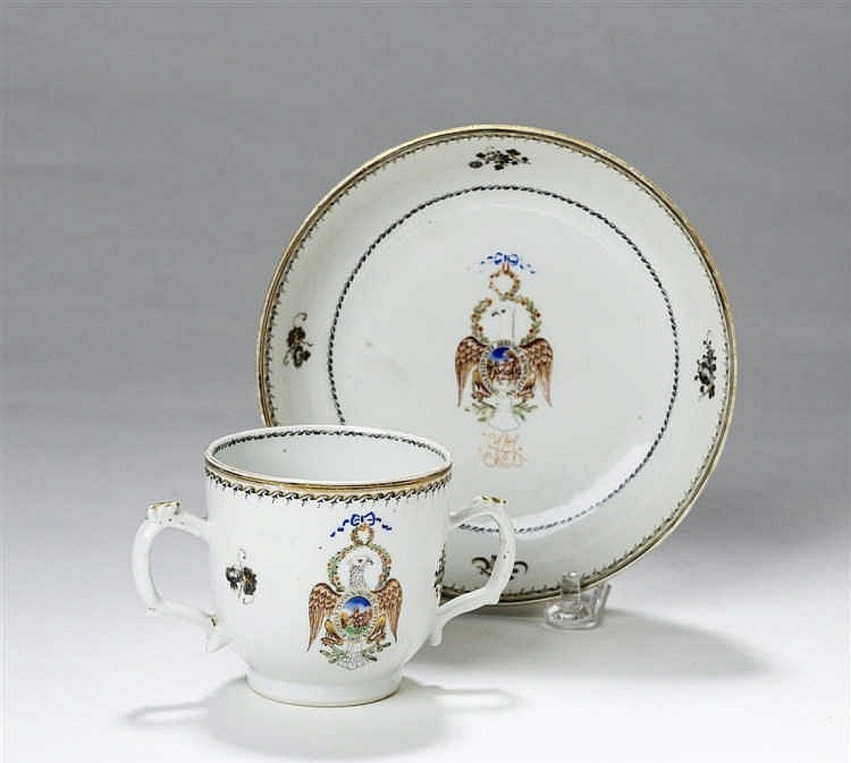 At $51,600, this two-handled cup and saucer with the insignia of the Order of the Cincinnati was the highest priced item in the sale. It was part of a tea set that had belonged to, and had the initials of Samuel Shaw, one of the founders of the society. The form, according to the buyers, was quite rare.