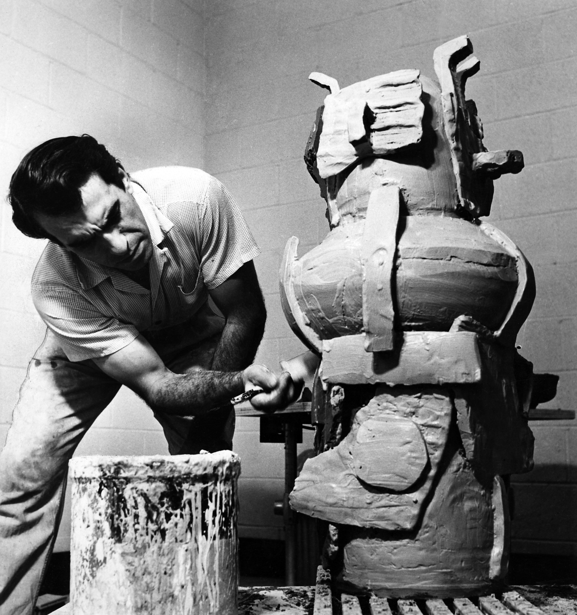 Peter Voulkos working on an untitled piece in Glendale studio, 1956. —Oppi Untracht photo, courtesy of the Voulkos & Co. Catalogue Project.
